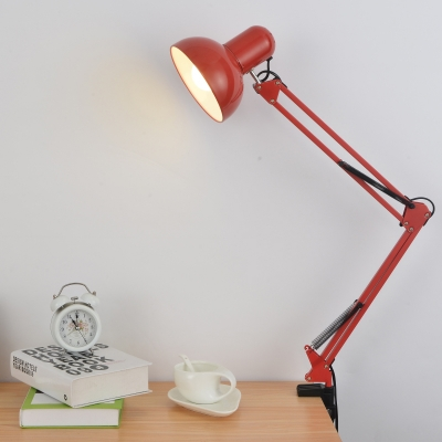 1 Light Swing Arm Desk Lamp Modernism Concise Metal LED Desk Lights in Red/Yellow