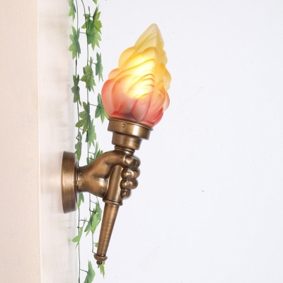 1 Light Torch Wall Mount Fixture Stylish Retro Style Glass Shade Sconce Lighting in Brass for Balcony