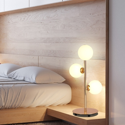 3 Light Orb Table Light Modern Fashion White Glass Reading Light for Study Room