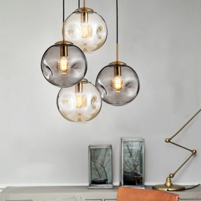 Designers Style Globe Pendant Light Cognac/Smoke Glass 1 Bulb Suspension Light For Bedroom - Beautifulhalo.com