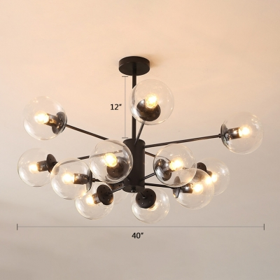 Designers Style Modo Hanging Light Clear Glass Multi Light Chandelier for Living Room