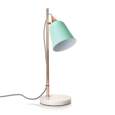 Elongated Dome Table Light Contemporary Metal Reading Lamp in Green/Gray/Pink for Bedroom