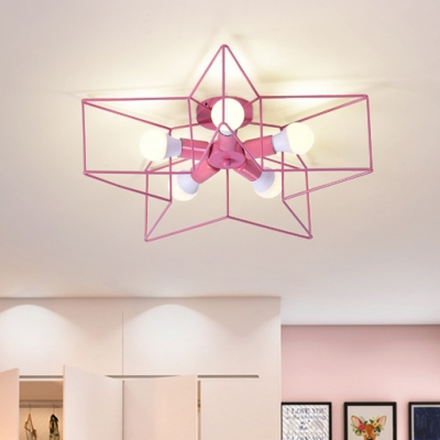 Five-pointed Star Semi Flush Mount Children Bedroom Metal 5 Lights Chandelier in Pink/Yellow