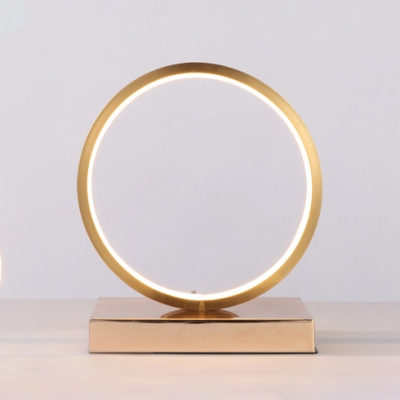 Gold Circular LED Standing Table Light Nordic Style Simple Acrylic Standing Table Lamp