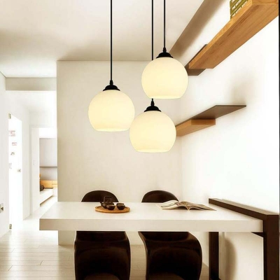 Industrial Pendant Light with Globe Glass Shade, White