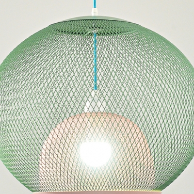 Mesh Cage Pendant Light Modernism Colorful Metal 1 Light Decorative Drop Light for Kids