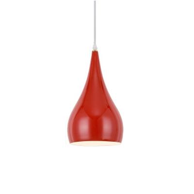 Minimalist Teardrop Pendant Lamp Metal 1 Bulb Drop Ceiling Lighting in Red for Restaurant
