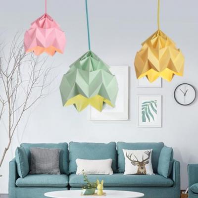 Modern Colorful Origami Drop Light Paper Single Light Ceiling Pendant Light for Kids
