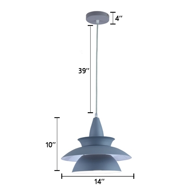 Modern Fashion Geometric Pendant Light Metal Accent Drop Light in Gray for Living Room