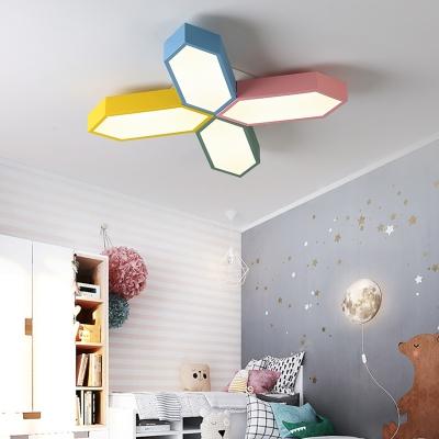 Multicolored Crossed Lines Flush Light Acrylic Decoration LED Ceiling