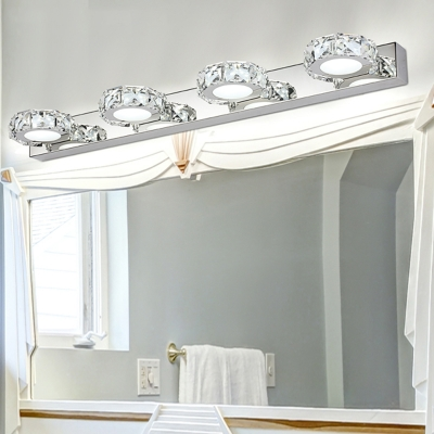 Stainless Crystal Vanity Light Contemporary 1 2 3 4 Lights Led Makeup