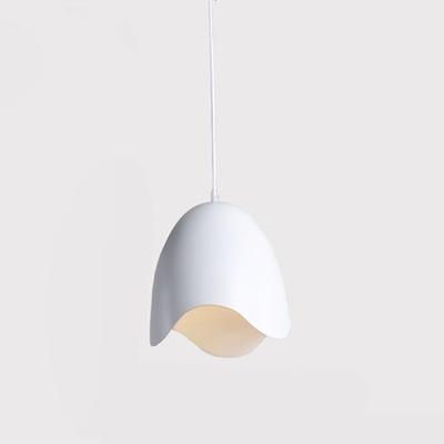 White Egg Shape Drop Light Elegant Simple Metal Hanging Light for Living Room Bedroom