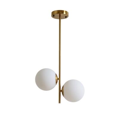 2 Light Globe Ceiling Light Retro Contemporary Opal Glass Pendant Light for Bedroom