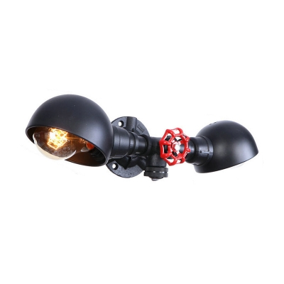 2 Lights Armed Wall Lamp with Metal Dome Shade Retro Style Sconce Light in Black Finish HL500232 фото