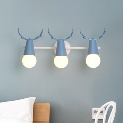 3 Heads Bare Bulb Wall Light with Antler Baby Kids Room Rotatable Metallic Wall Sconce in Blue/Gray