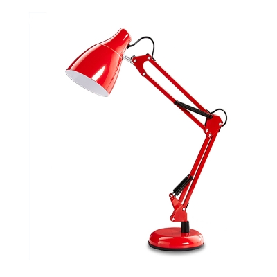 Single Head Arm Adjustable Table Light Modernism Metallic Standing Table Lamp in Red