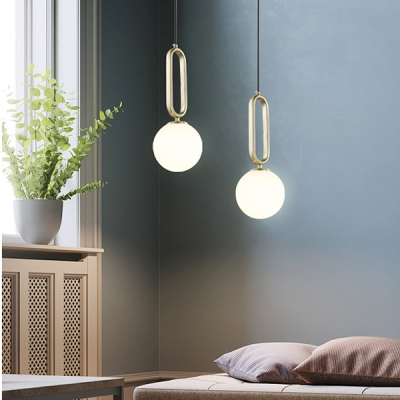 Adjustable 1 Bulb Ball Hanging Lamp Minimalist Milky Glass Suspension Light for Dining Room