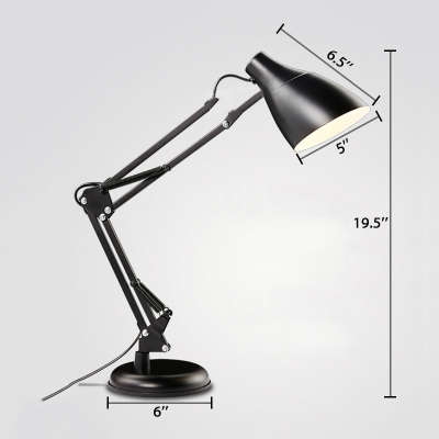 Adjustable Arm Desk Light Modern Simple Metal 1 Light Desk Lamp in Black for Study Room