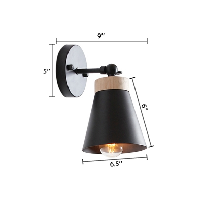 Adjustable Cone Wall Light Natural Simple Wood Wall Sconce in Black for Living Room