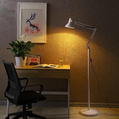 Arm Adjustable Floor Light Contemporary Metal Single Light Floor Light in White Finish