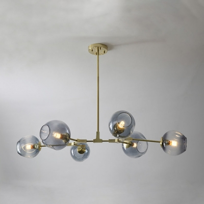 Bubble Hanging Light Contemporary Modern Smoke Glass 6 Light Art Deco Chandelier Light