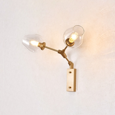 Clear Glass Branching Wall Light Contemporary 2 Light Adjustable Wall Lamp for Balcony