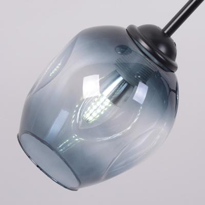 Cognac Glass Branch Hanging Lamp Designers Style Modern 6 Light Lighting Fixture in Black