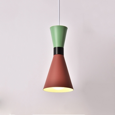 Colorful Modern Hourglass Suspended Light Aluminum Single Light Hanging Lamp for Kids