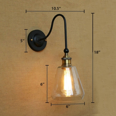 Conical Sconce Lighting Industrial Clear Glass 1 Light Lighting Fixture with Gooseneck in Aged Brass