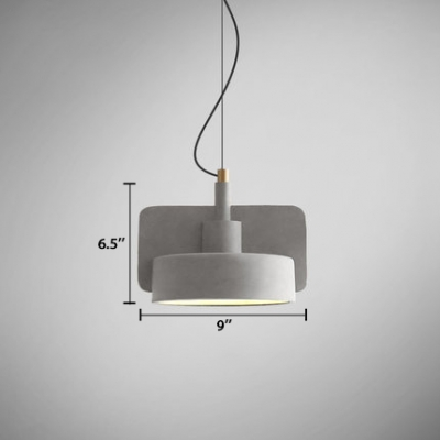 Cylinder Shade Suspended Lamp Industrial Simple Concrete Cord Hanging Light in Gray