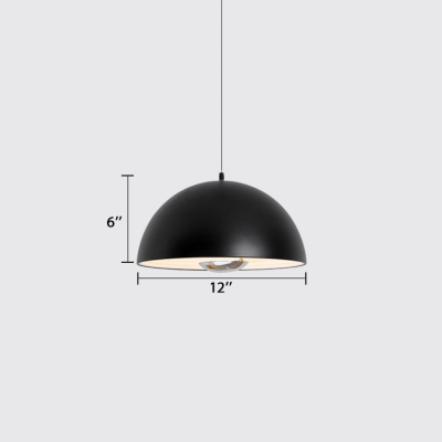 Dome LED Pendant Lights Modern Style Metal 1 Light Hanging Ceiling Lamp in Black/White