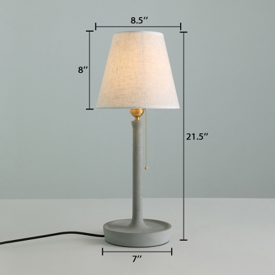 Fabric Tapered Shade Table Light Concise Table Lamp in Concrete Gray with Pull Chain