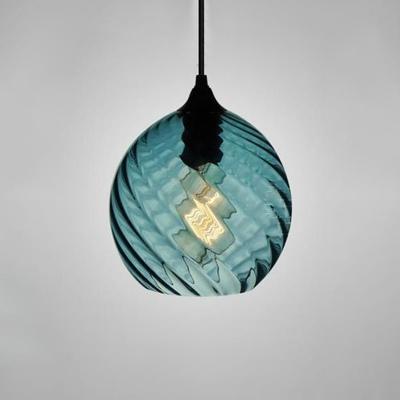 Geometric Pendant Light Modern Fashion Blue Glass Single Light Art Deco Hanging Light