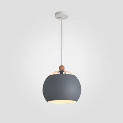 Gray Finish Globe Drop Light Designers Style Steel 1 Head Suspended Light for Dining Room