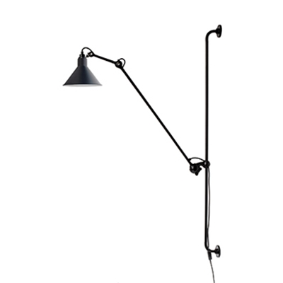 Gray Railroad Shade Wall Lamp Designers Style Industrial Steel Wall Light for Study Room