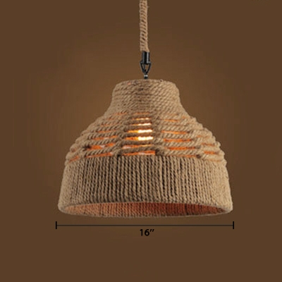 Industrial Hanging Pendant Light with Rope Shade in Vintage Style for Indoor Lighting
