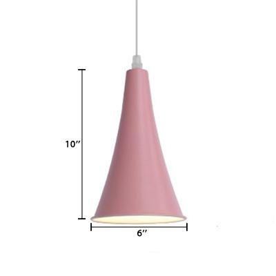 Macaron Nordic Trumpet Pendant Light Metal Single Head Suspended Lamp for Children Room
