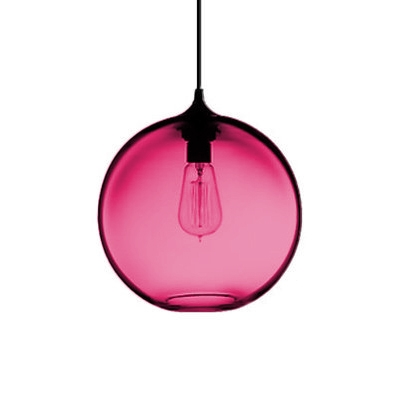 Modern Fashion Bottle Suspended Lamp Red Glass Single Head Drop Light for Sitting Room