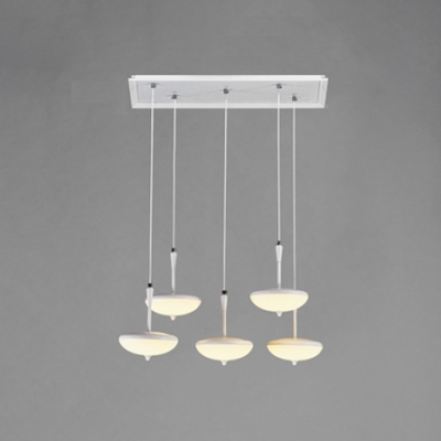 Modern Long Pendant Lighting Acrylic Shade 5 Light Led Suspended