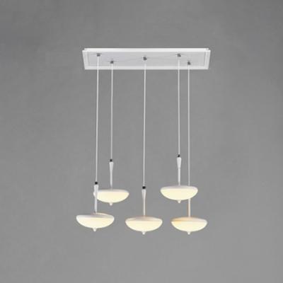 Modern Long Pendant Lighting Acrylic Shade 5 Light LED Suspended