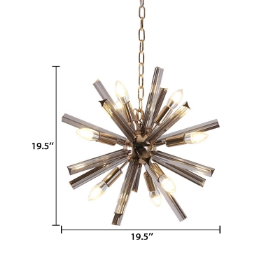 Multi Light Sputnik Drop Light Stylish Modern Smoke Glass Decorative Lighting Fixture