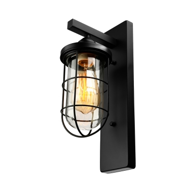 Nautical Style 1 Light LED Mini Wall Light with Clear Glass and Metal Shade