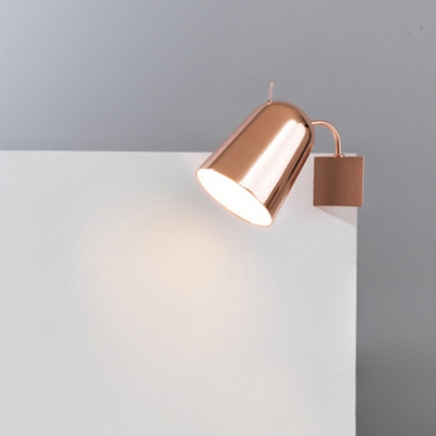 Rose Gold Dome Wall Lamp Post Modern Adjustable Steel 1 Light Wall