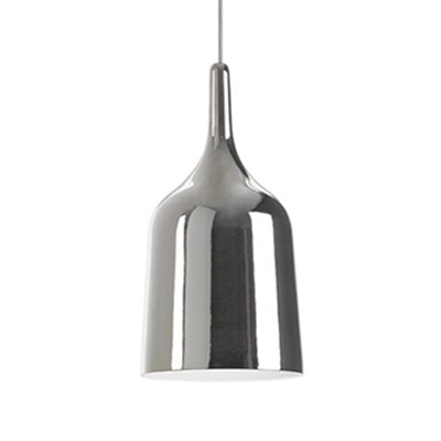 Silver Wine Shade Suspension Lamp Designers Style Metal LED Accent Hanging Light