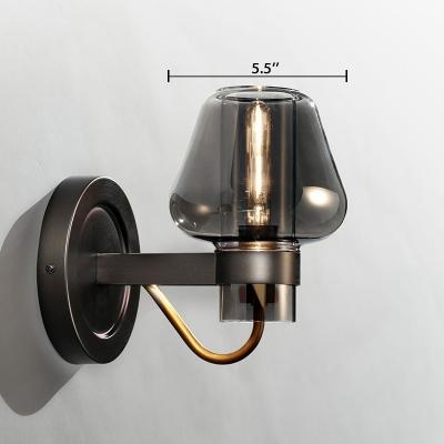 Smoke Glass Mushroom Wall Light Modernism 1 Bulb Art Deco Wall Light Fixture in Black for Restaurant