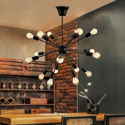 Superbe ... Vintage Black 18 Light Sputnik LED Pendant Light For Living Room  Restaurant Bar ...