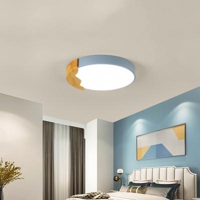 Wooden LED Flush Light with Drum Shape Colorful Macaron Ceiling Lamp for Children Bedroom