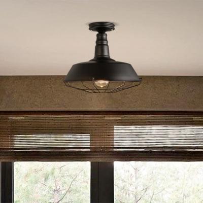 Wrought Iron Wire Cage Semi Flush Mount Light In Black For Kitchen Island Farmhouse Loft