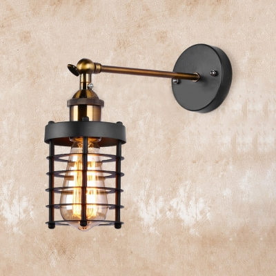 Beautifulhalo coupon: 1 Bulb Cylinder Wall Sconce with Wire Guard Industrial Metal Wall Mount Fixture in Antique Brass