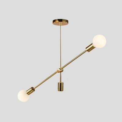 2/4 Heads Linear Suspended Lamp Designers Style Metal Chandelier Lamp in Gold for Living Room